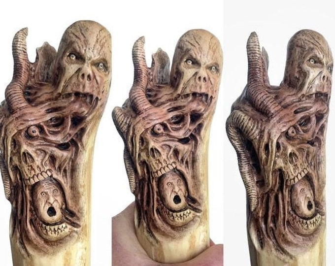 SALE New Year Walking Stick, Wood Carving, Dark Art, Skull Wood Carving, by Josh Carte, Macabre Wood Art, Hiking Stick, Evil Art, Creepy Art