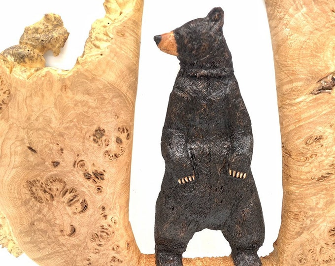 Bear Wood Carving, Family Heirloom, Carving of a Bear, Wooden Bear, Hand Carved Bear, Handmade Woodworking, by Josh Carte, Black  Bear