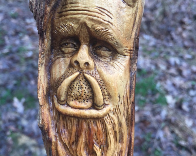 Wood Spirit Carving, Monster, Creature Sculpture, Hand Carved Wall Art, Perfect Wood Gift, by Josh Carte, OOAK Wood Art, Face, Rustic Decor
