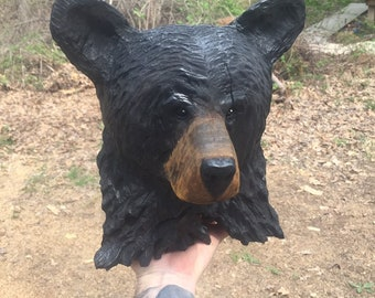 Bear Chainsaw Carving, Hand Carved Bear, Unique Bear Sculpture, by Josh Carte, Made in Ohio, Chainsaw Art, Black Bear
