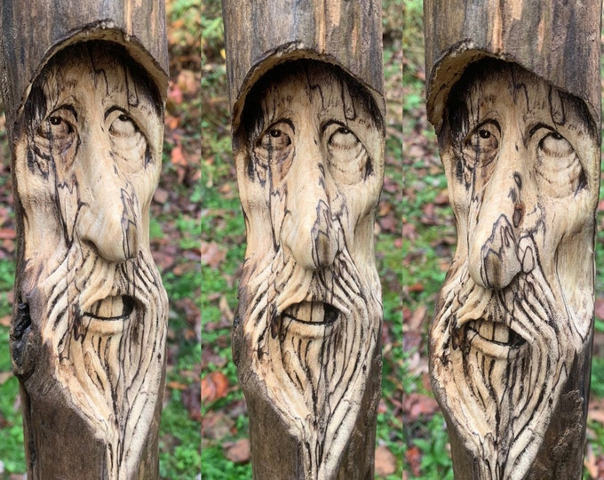 Driftwood Carving, Wood Carving, Wood Wall Art, by Josh Carte, Hand Carved Wood Art, Unique Sculpture, Made in Ohio, OOAK