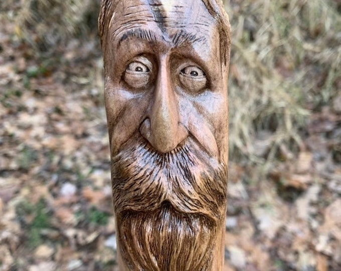 20% Off Sale Walking Stick, Wood Carving, Wooden Cane, Hiking Stick, by Josh Carte, Carving of a Face, Hand Carved Wood Art, Walking Staff,