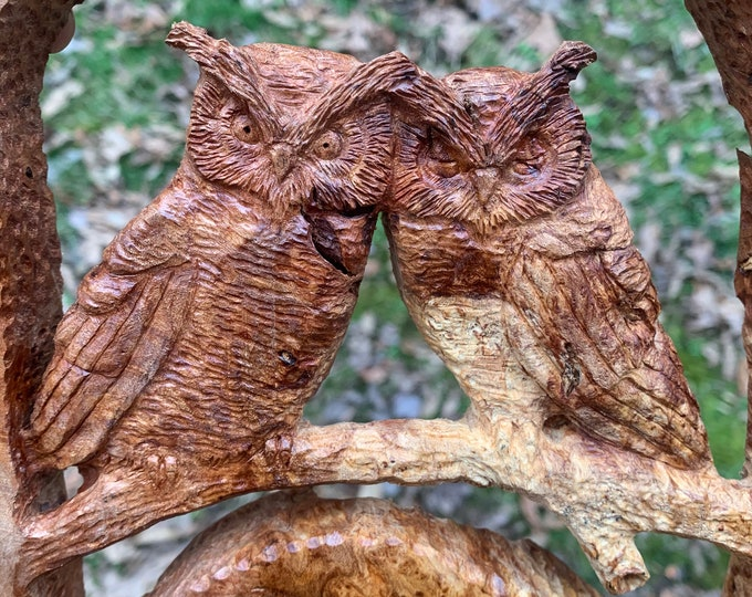 Love Birds, Wood Carving, Owls Wood Carving, Hand Carved Wood Art, by Josh Carte, Wood Sculpture, Perfect Wood Gift, 5th Anniversary Wood