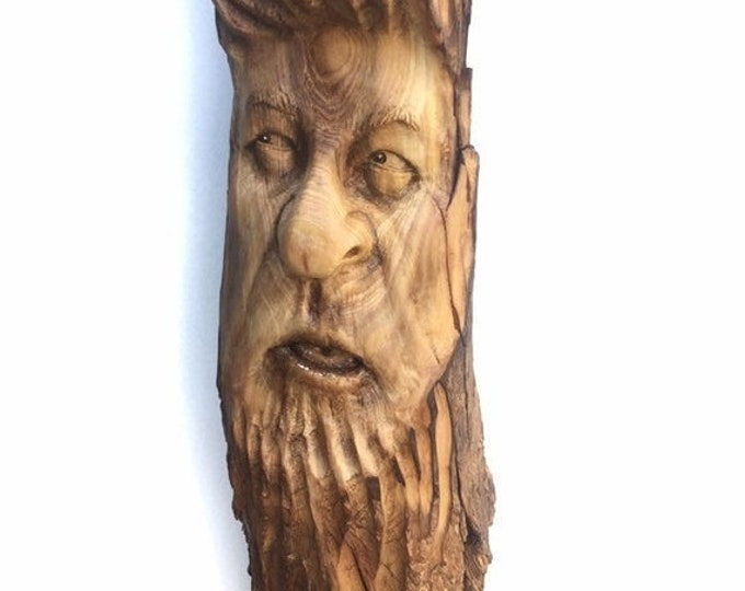 Halloween SALE Wood Carving, Wood Spirit Carving, Chainsaw Carving, by Josh Carte, Made in Ohio, Hand Carved Wood Art