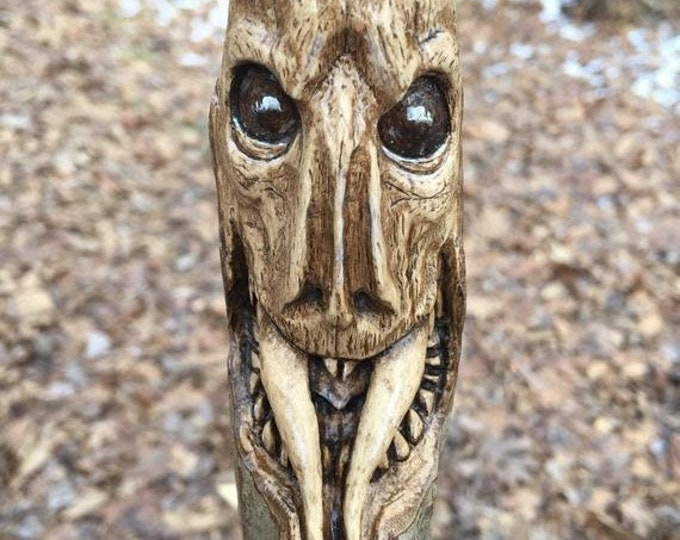 SUMMER SALE Wood Walking Stick Carving, Creature, Hand Carved by Josh Carte, Hiking Stick, Snake, Fangs, Perfect Wood Gift, Original Wood Ar