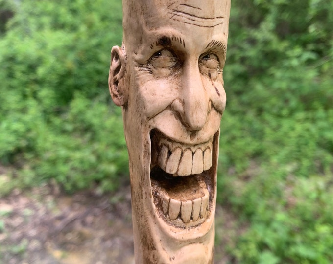 Walking Stick Wood Carving, Hand Carved Hiking Stick, Wood Spirit Carving, Wood Carving, by Josh Carte, Unique Art, Handmade Woodworking