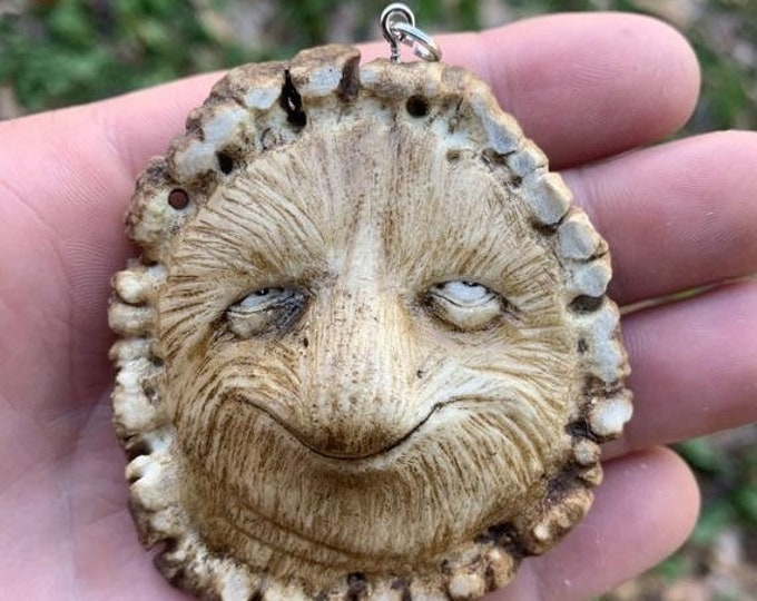 SALE New Year Elk Antler Carving, Antler Art, Bone Pendant, Bone Jewelry, by Josh Carte, Creature Art, Hans Carved Bone Art, Made in Ohio, O