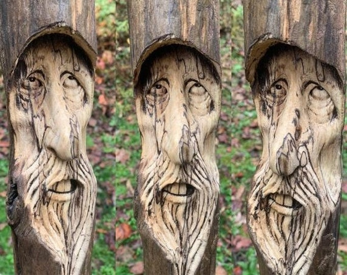 SALE New Year Driftwood Carving, Wood Carving, Wood Wall Art, by Josh Carte, Hand Carved Wood Art, Unique Sculpture, Made in Ohio, OOAK
