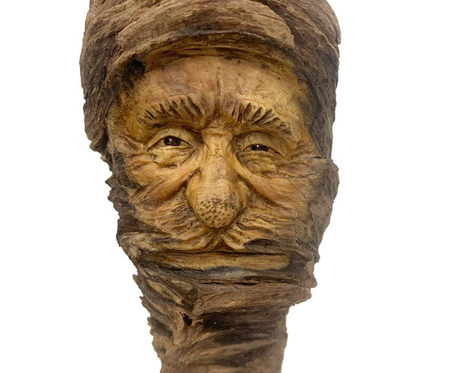 Wood Carving, Wood Spirit Carving by Josh Carte, Hand Carved Wood Art, Wood Wall Art, Carving of a Face, Face Sculpture