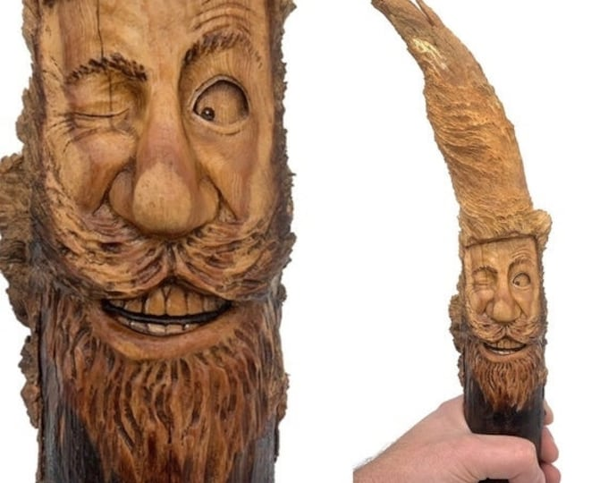 Halloween SALE Wood Carving, Wood Spirit Carving, Wood Wall Art, Hand Carved Wood Art, Carving of a Face, by Josh Carte, Wink, Beard, Made i