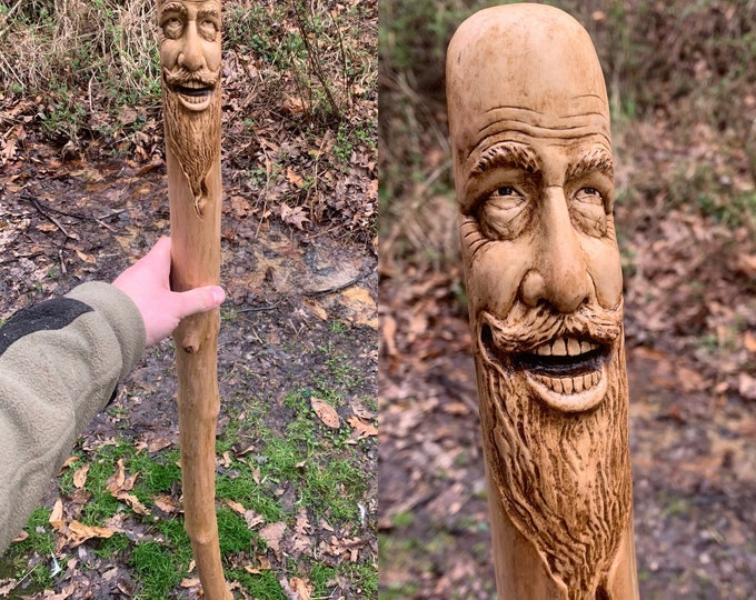 Walking Stick Wood Carving, Hand Carved Hiking Stick, Carved Wooden Cane, Wood Spirit Carving, by Josh Carte, Carving of a Face, Unique Art