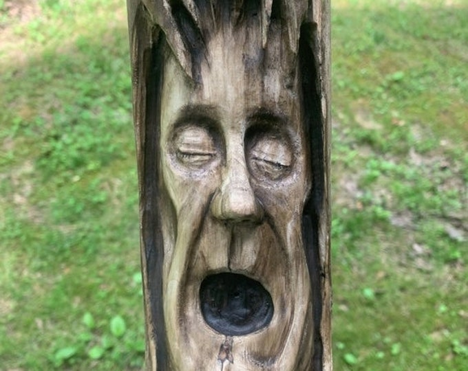 SALE New Year Driftwood Carving, Wood Carving in Driftwood, Wood Wall Art, Wood Spirit Carving, by Josh Carte, Hand Carved Wood Art