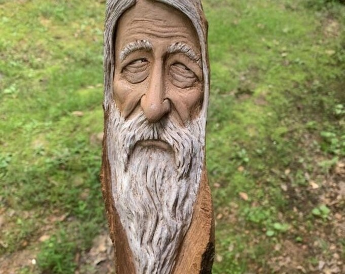 Halloween SALE Wood Carving, Wizard Carving, Cottonwood Bark Carving, by Josh Carte, Made in Ohio, Old Man with Beard, OOAK Wood Wall Art, H