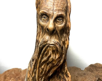 Bigfoot Carving, Wood Carving, Carving of Sasquatch, Carving of a Face, Pipe Smoker, by Josh Carte, Made in Ohio, Bigfoot Sculpture