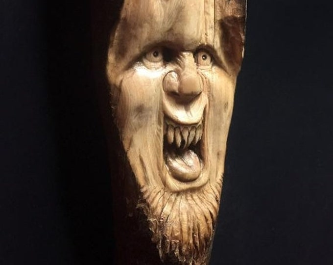 Halloween SALE Wood Carving, Chainsaw Carving, Made In Ohio, Wood Spirit Carving, Carving of a Face, by Josh Carte, Hand Carved Wood Art