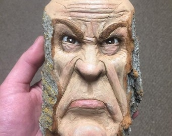 SUMMER SALE Wood Carving, Wood Spirit Carving, Carving of a Face, Grumpy, by Josh Carte, Made in Ohio, Hand Carved Wood Art