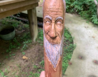 Walking Stick, Wood Carving, Carving of a Face, Old Man, Hiking Stick, Wood Cane, Hand Carved Wood Art, Made in Ohio, by Josh Carte