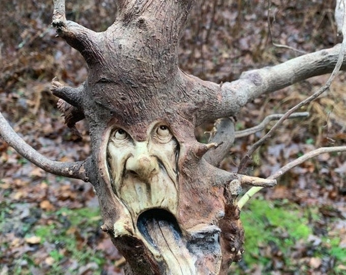20% Off Sale Wood Carving, Root Wood Art, Carving of a Face, Wood Home Decor, Handmade Woodworking, by Josh Carte, Hand Carved Wood Art