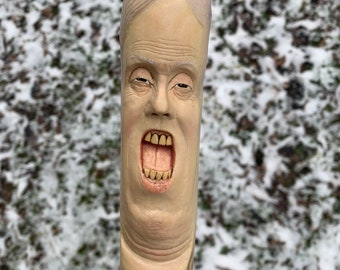 Walking Stick, Wood Carving, Carving of a Face, Hand Carved Wood Art, Hiking Stick, Wooden Staff, Unique Walking Stick, by Josh Carte