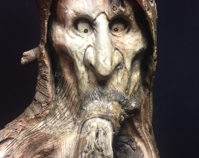 Wood Carving, Root Carving, Wood Spirit Carving, Dark Art, Made in Ohio, by Josh Carte, Hand Carved Wood Art