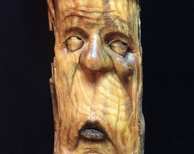 20% Off Sale Wood Carving, Wood Carving of a Face, Wooden Sculpture, Wood Spirit Carving, Hand Carved Wood Art, by Josh Carte