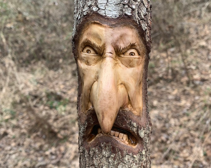 Wood Spirit Carving, Carving of a Face, Wood Wall Art, Big Nose, Hand Carved Wood Art, by Josh Carte, Unique Wood Art, Amazing Carving, Wood