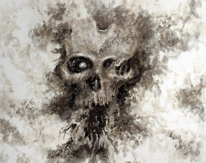 Original Oil Painting, by Josh Carte, Skulls, Macabre Art, Dark Art Painting, Hand Painted Art, Wall Art Painting, Original Art, Artist