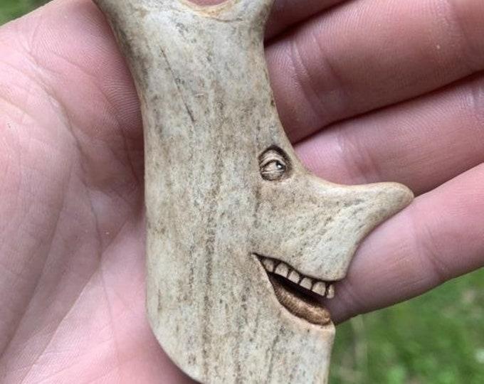 20% Off Sale Bone Pendant Carving, Bone Necklace, Hand Carved Bone Art, Deer Antler Carving, Made in Ohio, by Josh Carte