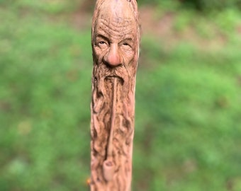 Walking Stick, Wood Carving, Wood Spirit Carving, Carving of a Face, Old Man Carving, Pipe Smoker, Hand Carved Wood Art, by Josh Carte, Ohio