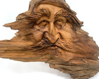 Wood Spirit Carving, Wood Wall Art, Hand Carved Wood Art, by Josh Carte, Wood Carving by Josh Carte, Unique Wood Art, Handmade Woodworking