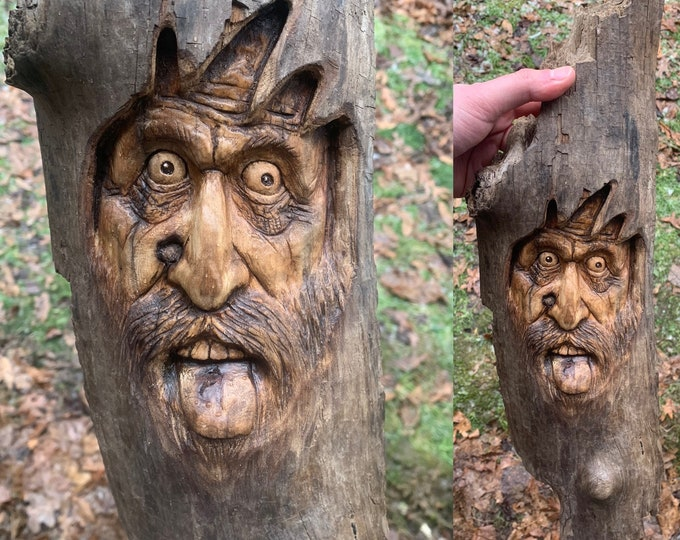 Driftwood Carving, Wood Carving Wall Art, Hand Carved Wood Art, by Josh Carte, Carving of a Face, Driftwood Art, Handmade Woodworking