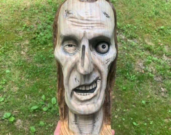 25% Off Sale Zombie Wood Carving, The Walking Dead, Wooden Bust, Carving of a Face, Hand Carved Wood Art, by Josh Carte, Macabre Art