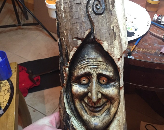Spooky Wood Carving, Perfect for Halloween, Creepy Wood Sculpture, Wall Art Decor by Josh Carte, Handmade Woodworking, Chainsaw Carving