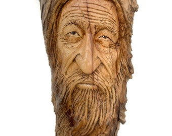 Wood Carving, Wood Spirit Carving, Carving Of A Face, Hand Carved Wood Wall Art, Handmade Woodworking, By Josh Carte, Wood Sculpture