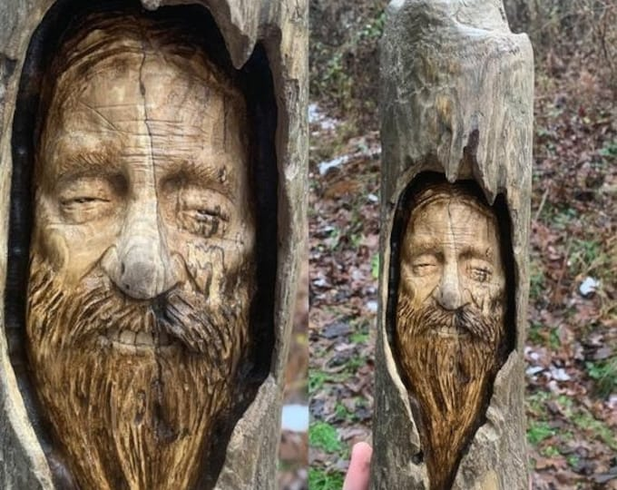 SALE New Year Driftwood Carving, Wood Carving, Hand Carved Wood Art, by Josh Carte, Driftwood Art, Handmade Woodworking, Unique Sculpture, M