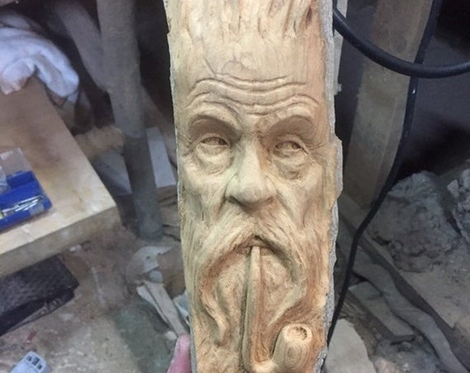Halloween SALE Wood Carving, Pipe Smoker, Chainsaw Carving, Wood Spirit Carving, Made in Ohio, by Josh Carte, Hand Carved Wood