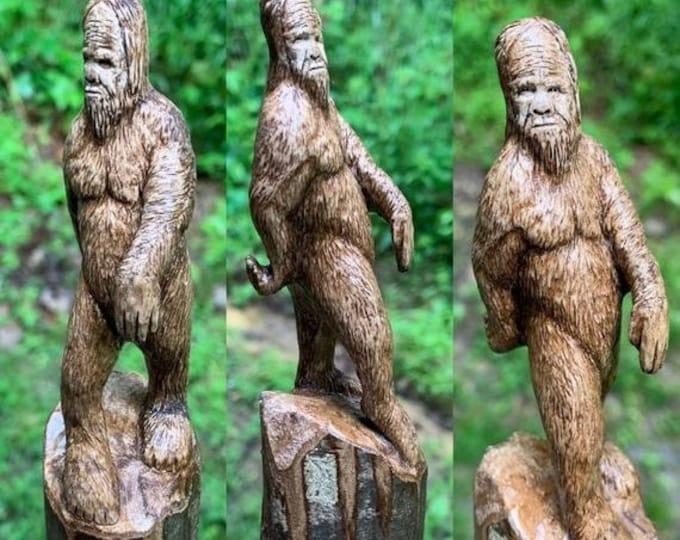 Halloween SALE Bigfoot Walking Stick, Sasquatch Wood Carving, Bigfoot Cane, by Josh Carte, Hand Carved Wood Art, Made in Ohio, Wood Art