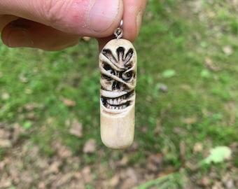Bone Carving, Deer Antler Jewelry, Skull Carving, by Josh Carte, Bone Pendant, Antler Necklace, Hans Carved Bone Art, OOAK, Macabre Art