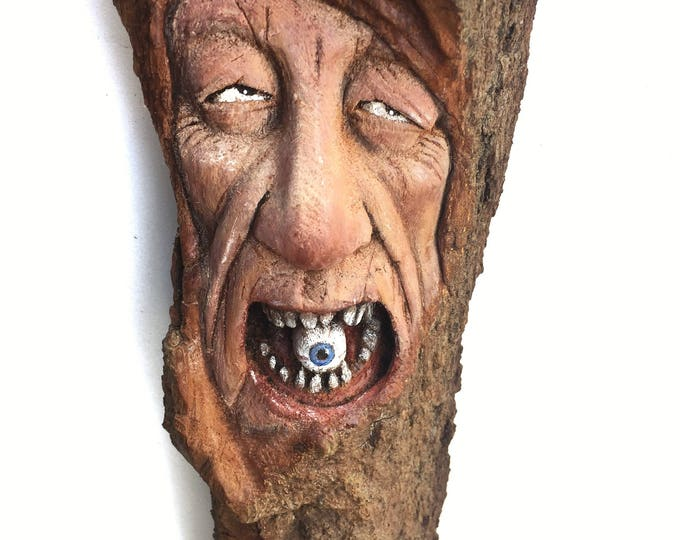Wood Spirit, Wood Carving, Creepy, Eyeball, Spooky Art, by Josh Carte, Wall Art Decor, Hand Carved, Perfect Wood Gift, Original Art, Face