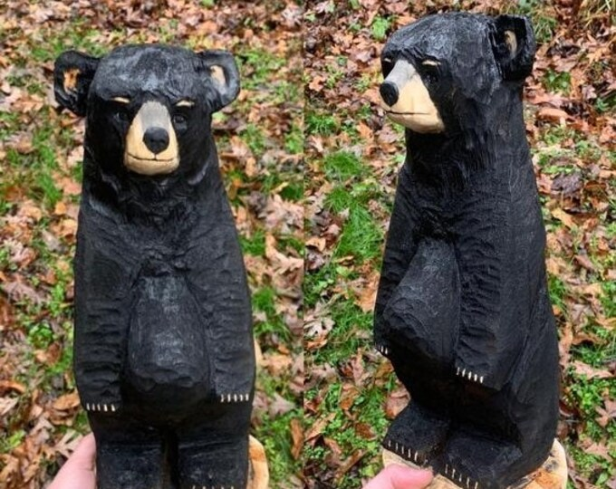 SALE New Year Bear Carving, Chainsaw Carved Bear, Wooden Bear, Bear Chainsaw Carving, Bear Wood Carving, Hand Carved Bear, by Josh Carte, Bl