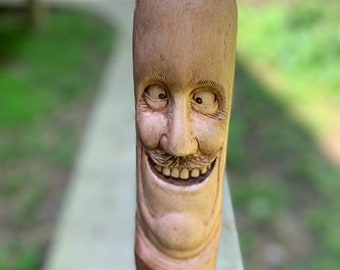 Walking Stick, Wood Carving, Hand Carved Wood Art, by Josh Carte, Made in Ohio, Funny Face, Carving of a Face, Unique Sculpture, Cane
