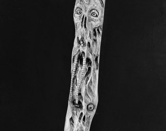 Walking Stick, Macabre Art, Wood Carving, Demons, Hand Carved Wood Art, Wooden Cane, by Josh Carte, Chainsaw Carving, Made in Ohio