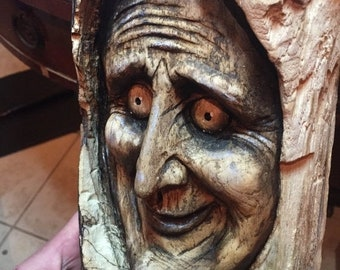 25% Off Sale Spooky Wood Carving, Perfect for Halloween, Creepy Wood Sculpture, Wall Art Decor by Josh Carte, Handmade Woodworking, Chainsaw
