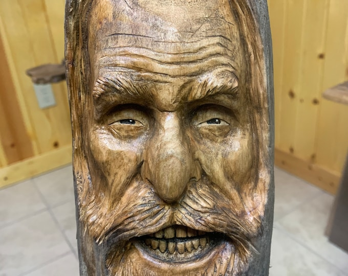 Driftwood Carving, Wood Carving, Driftwood Art, Wood Spirit Carving, Hand Carved Wood Art, Carving of a Face, by Josh Carte, Old Man Carving