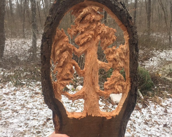Wood Carving, Chainsaw Carving, Tree Carving, Hand Carved Wood Art, by Josh Carte, Made in Ohio, Carving of a Tree