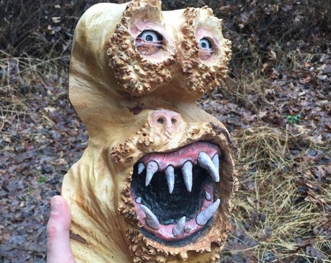 SUMMER SALE Wood Carving, Creature, Handmade Woodworking, Sculpture by Josh Carte, Unique Wood Art, Carved Home Decor, Maple Burl Carving, O