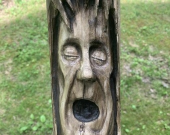 Halloween SALE Driftwood Carving, Wood Carving in Driftwood, Wood Wall Art, Wood Spirit Carving, by Josh Carte, Hand Carved Wood Art