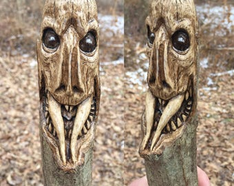 Wood Walking Stick Carving, Creature, Hand Carved by Josh Carte, Hiking Stick, Snake, Fangs, Perfect Wood Gift, Original Wood Art, Handmade
