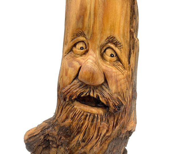 Wood Spirit Carving, Wood Carving, Carving Of A Face, Hand Carved Wood Art, By Josh Carte, Wood Wall Art, Handmade Woodworking