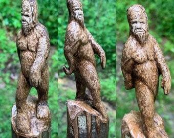 SUMMER SALE Bigfoot Walking Stick, Sasquatch Wood Carving, Bigfoot Cane, by Josh Carte, Hand Carved Wood Art, Made in Ohio, Wood Art